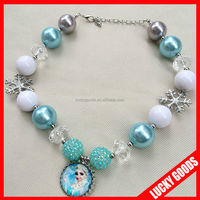 kids corful chunky Frozen Free Fall fashion necklace with big beads