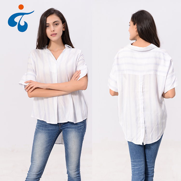 Made in China cheap different designs short sleeve stripes long shirt women