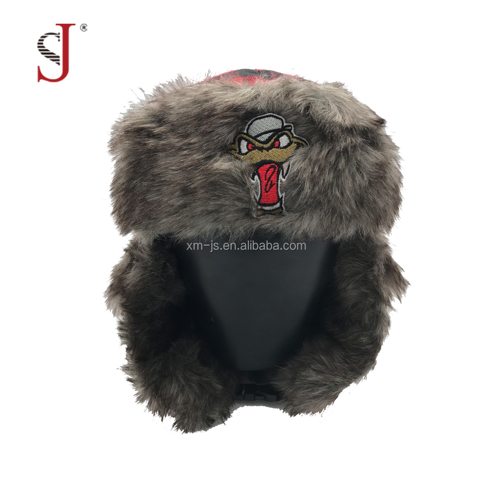 Custom Funny Plaid Faux Fur Fake Fur Cap Earflap Russian Style Ski Trapper Hat Eskimo Hat For Winter