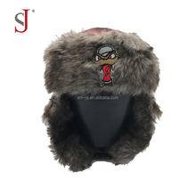 Custom Kids Funny Plaid Faux Fur Fake Fur Cap Earflap Russian Style Ski Trapper Hat Eskimo Hat For Winter