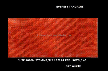 "Everest quality Tangrine color dyed jute laminated fabric 48"" Width"