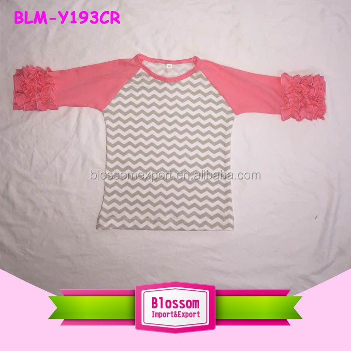 Floral Printed Icing Ruffle Raglan Shirt High Quality 3/4 Sleeve Raglan Shirt Boutique Raglan Shirt with Ruffle Sleeve