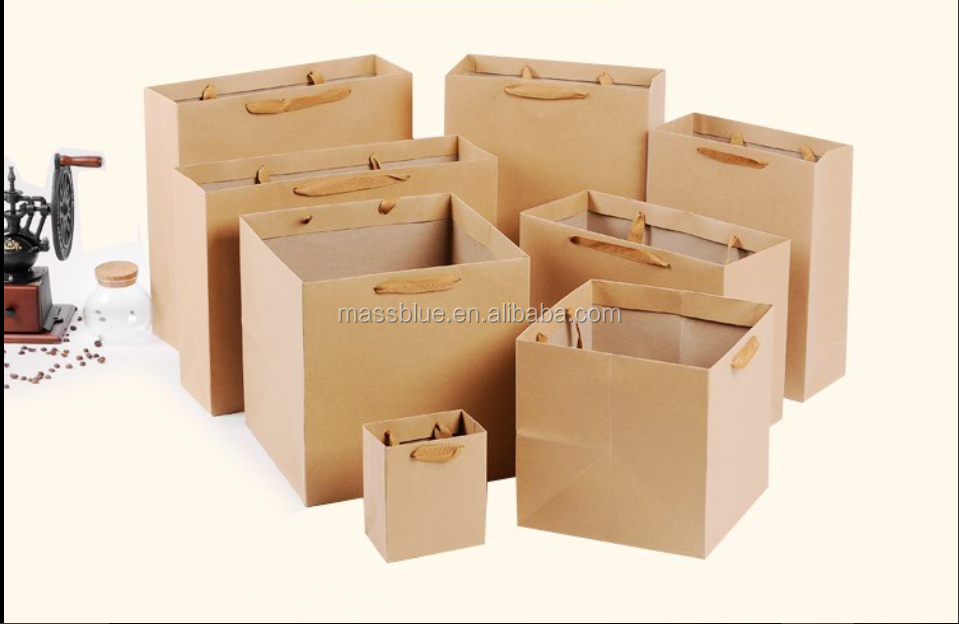 High quality square brown kraft paper bag for flower packaging
