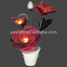 light up led flower pot with net rose LED flower for garden party decoration