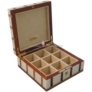 Fashion clothing buttons case luxury wooden cufflink box