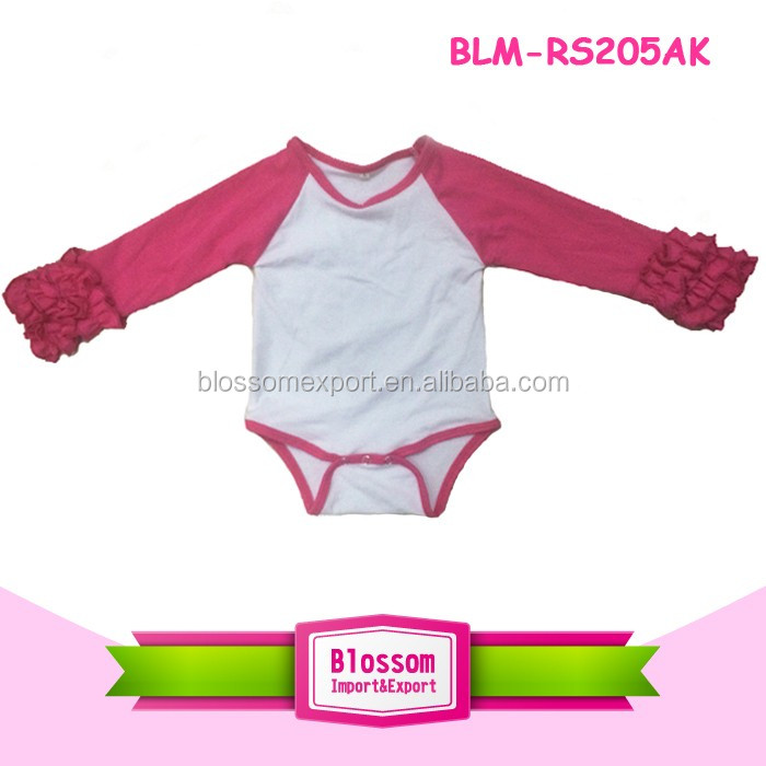 Cotton Baby Clothes Fashionable Plain Blank Striped Raglan Long Sleeves Baby Girl Romper Raglan Sleeve Onesie Wholesale