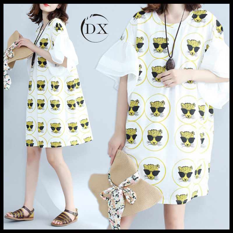 2017 Summer Fat Woman Lady Girl Fashion Plus Size Cotton Cartoon Printed Trumpet Short Sleeve Dress Clothing