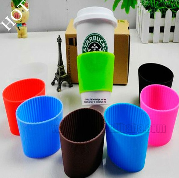 Non-slip heat protection safe for glass cup silicone cup sleeve Silicone Coffee Cup Sleeve