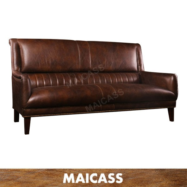 Old American restaurant antique leather sofa