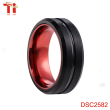 Surface brushed ring designs, black fashion men's ring with grooving,classic tungsten ring with Electrophoretic plating