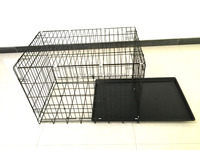 Foldable Suitcase Wire Meta dog cage kennel with two doors dog kennels