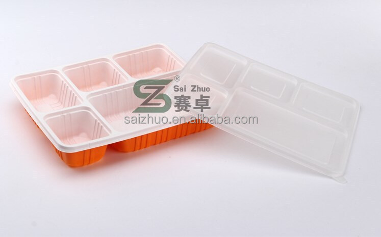 1100ml 5 compartment microwave safe plastic disposable bento box /takeaway lunch box