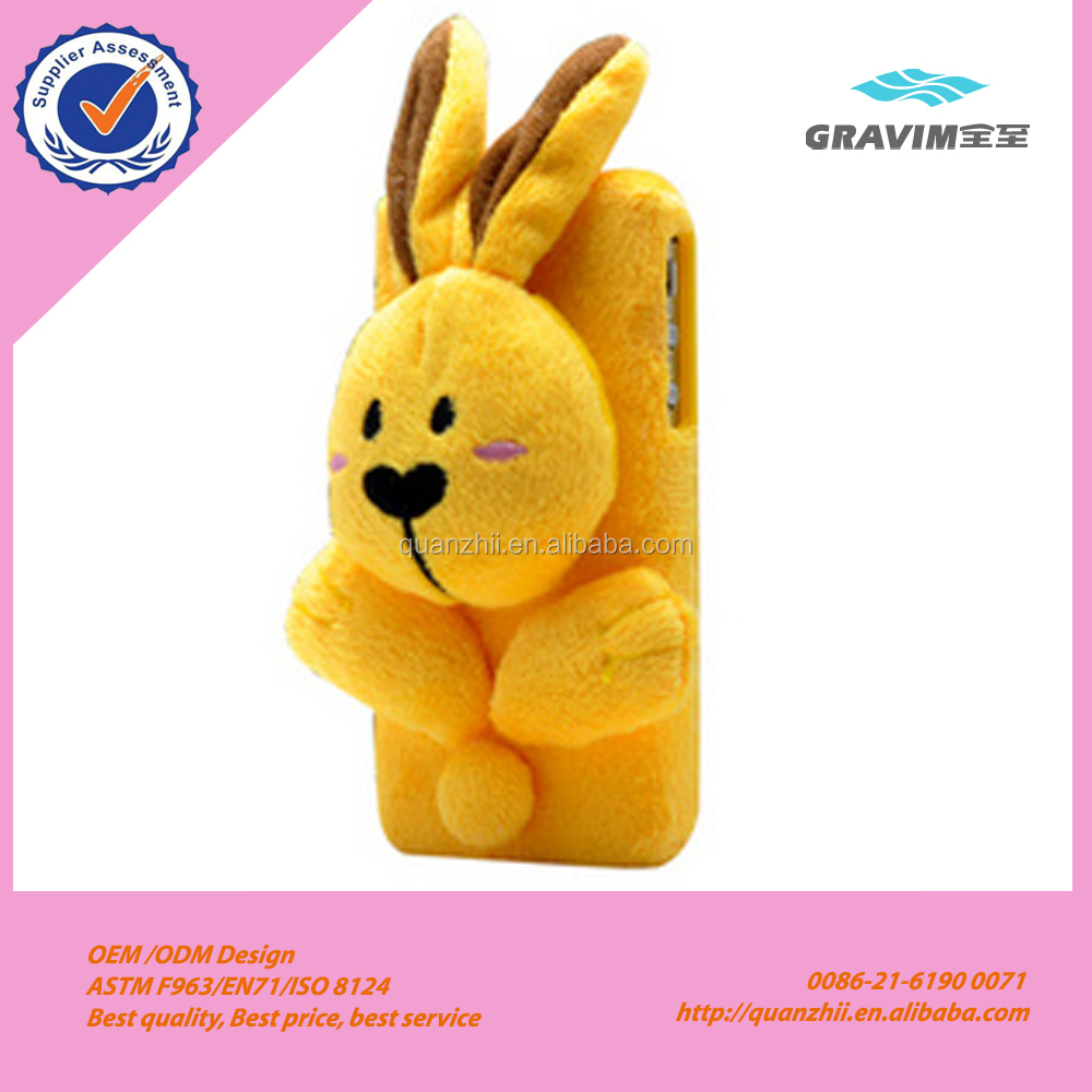 Wholesale cheap cute plush yellow rabbit case for phone