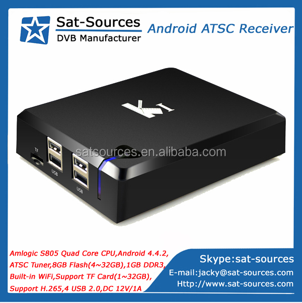 Top Selling Android ATSC Receiver Quad Core Android 4.4 XBMC KODI ATSC Tuner Built-in WiFi
