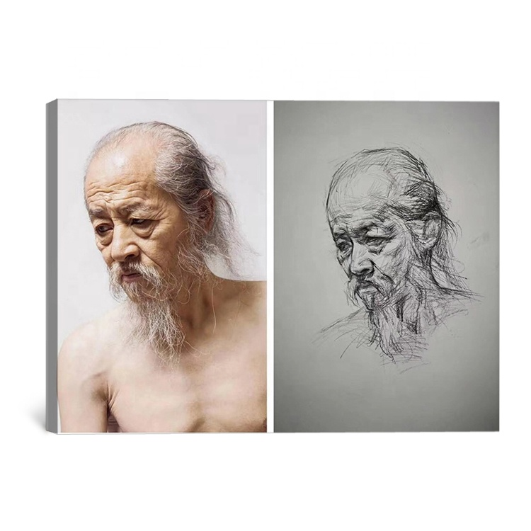 Handpainted old man nude portrait pencil drawing <strong>picture</strong> from photo