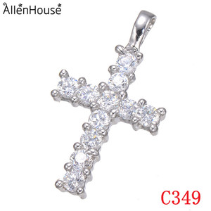 23x13mm Fashion silver cross charm pave cz cross women pendant for sale 29dcd17bde9b