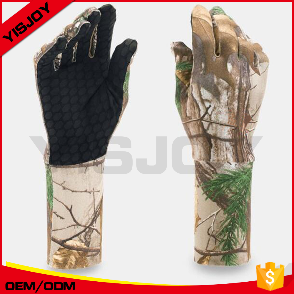 Custom Hunting Camo Glove Camouflage Comfortable Anti Slip Elastic Fishing Gloves Skidproof Nonslip Shooting Glove