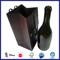 Wine Glass Bottle 6 Pack Paper Handle Bottle Carrying Bag