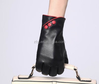 Wholesale fashion style ladies black leather gloves