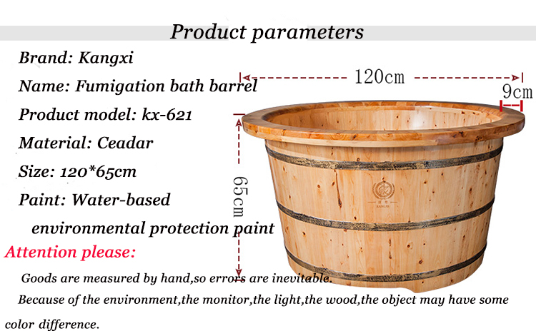 Chinese Cedar Factory Outlet Freestanding Portable Round Bathroom Wholesale Bathtub By Traditional Handmade