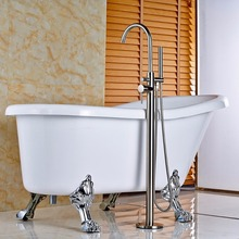 Floor Mounted Standing Bath Tub Faucet Single Handle Mixer Tap with Handheld Shower