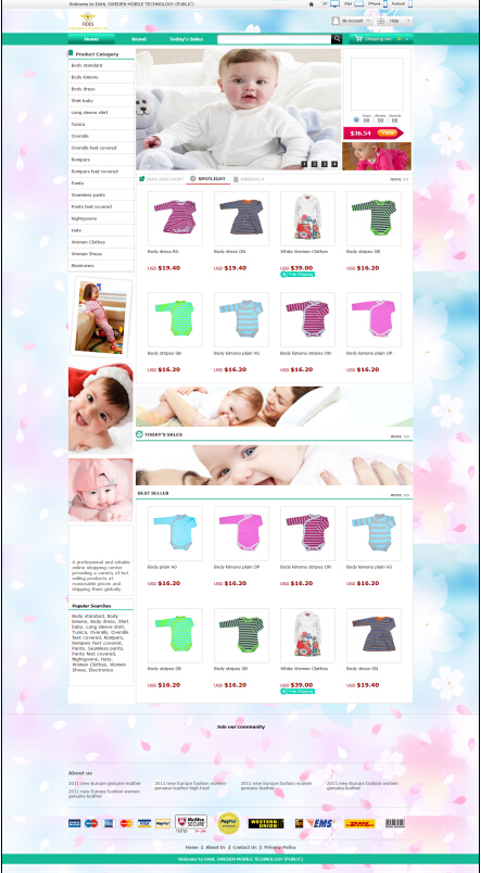 Ishop4 series e-commerce website design for Baby Clothe and best wholesale websites online shopping