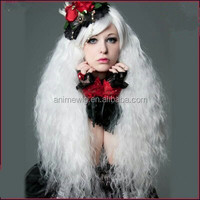 High Quality 70cm Long Wave White Synthetic Fashion Lolita Cosplay Costume Wig