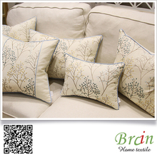 New arrival embroidery Christmas element cotton linen cushion cover wholesale