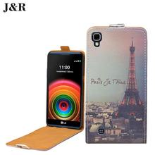 "For LG X Power Case Cover Open Up Down Cute Painting Colored Flip Pu Leather Case For LG X Power 5.3"" Cover Skin Phone Bags"