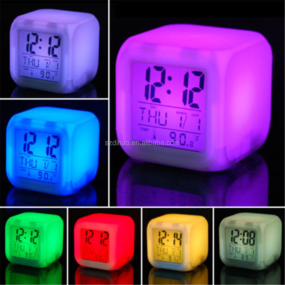 DIHAO 7 LED Colour Changing Digital Alarm Clock Thermometer Date Time Night Light/Creative Home Furnishing Clock