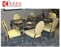 fashion rectangular stainless steel marble 6 people dining table