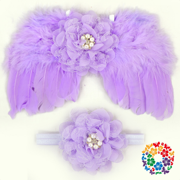 Lavender Color Infants Size Cheap Angel Wings With Match Flower Headband Small Feather Angel Wings Baby Fairy Wings Wholesale