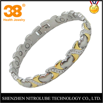2017 hot style gold plated heart magnet germanium therapy korea bracelet for women