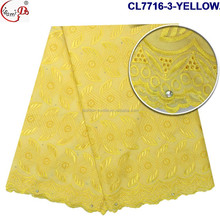 African Hot Sale white swiss cotton voile lace CL7716-3-YELLOW comfortable cord lace fabric