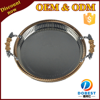 round metal tray/serving tray T284