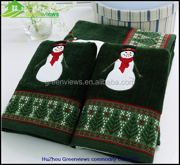 Merry Christmas towel Pakistan cotton beach toweling Green Holiday Towels