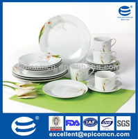 Chinese Factory directly supply calla lily painting 20pcs household crockery porcelain dinner set stock