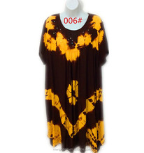 African Summer short sleeve dress Fashion Rayon Tie Dye Dress for women