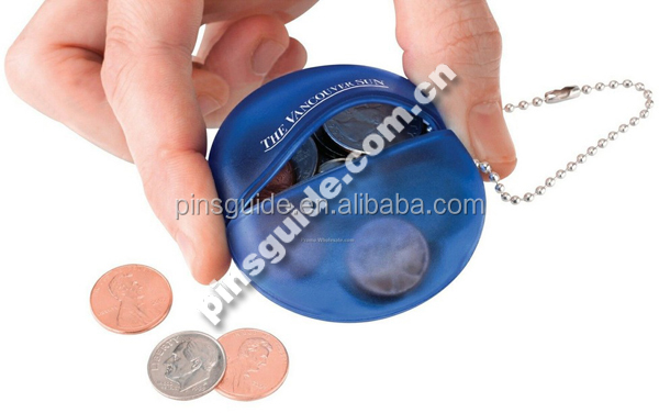 Promotional Round Shaped Soft Rubber Squeeze Coin Purse With Your Logo