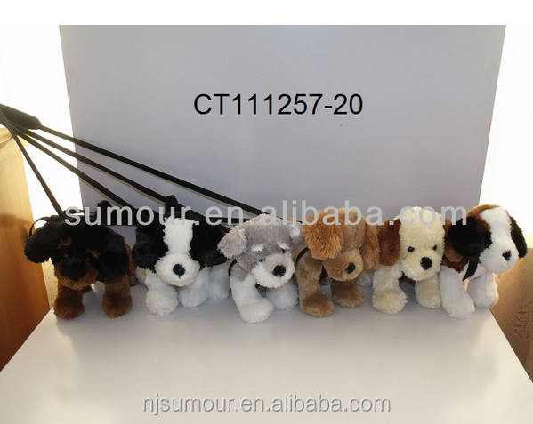 plush dog soft toy manufacturer with sticks plush cute dog with stick