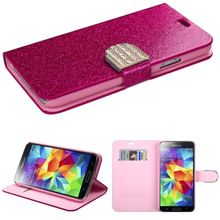 Rose Red Glittery Jacket Folio Pouch Credit Card Slot Cover Phone Case with Diamante Belt for Samung Galaxy S5