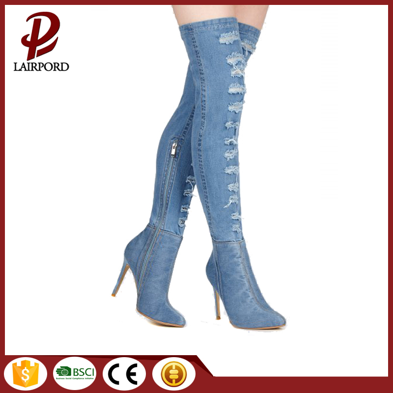 Newest women shoes high heel ladies fashion denim long boots 2018