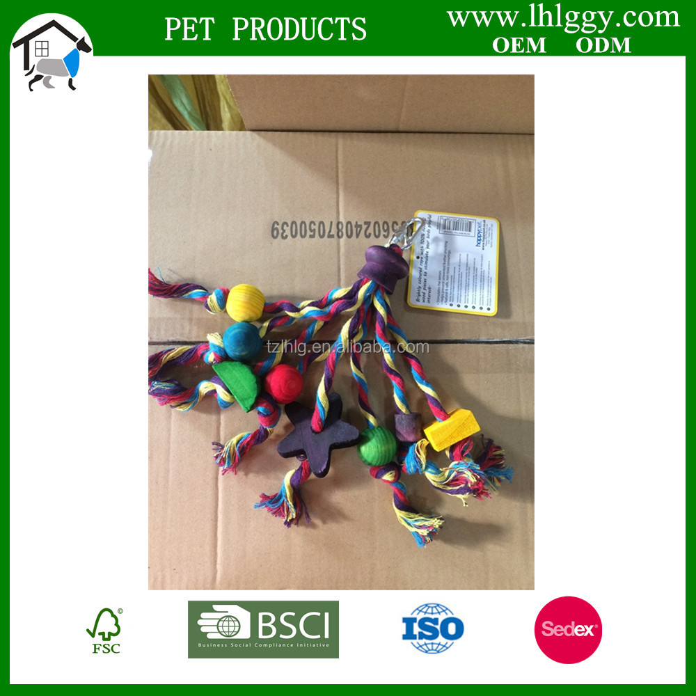 colorful hanging wooden/Wood Bird Toy colofull bird ball pet toy