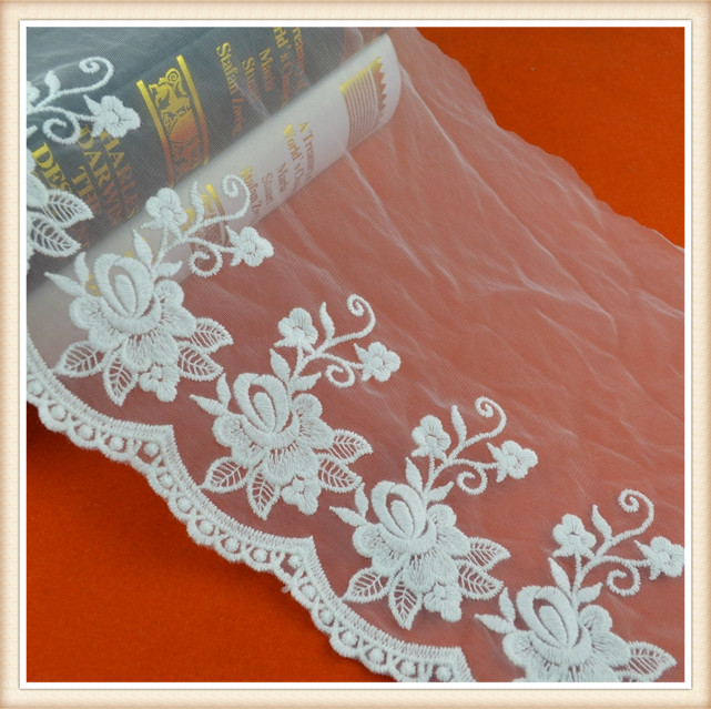 new design flower embroidery lace 100% white cotton tulle lace wholesale