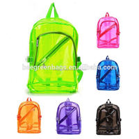 BeeGreen Cheap PVC Plastic clear backpacks for school