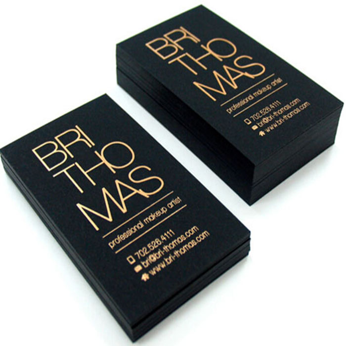 Black paper gold foil business card