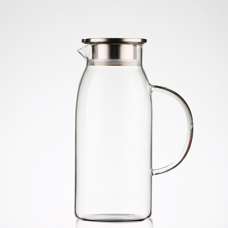 Wholesale Fruit Juice Infuser Jug Water Carafe Iced Tea Kettle Glass Pitcher with Stainless Steel Lid