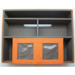 customized leather desk organizer office multigrid storage box