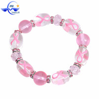 Pink Ribbone Cancer Awareness Fashion Glass Beads Friendship Handmade Bracelet