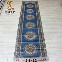 Yuxiang 2.8'x12' Peacock Blue color lowes carpet prices of 100% silk persian hand knotted runner rug handmade carpets for sale